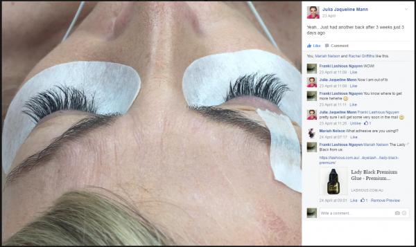 Julia Mann @ LashTribe - Lady Black Glue at 3 Weeks Retention